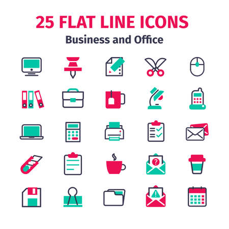 lamp silhouette: Set of 25 flat line icons. Business and office flat line icons. Set of office items in flat line style. 25 icons isolated on white background. Icons, signs, symbols for web design. Set of bright icons Illustration