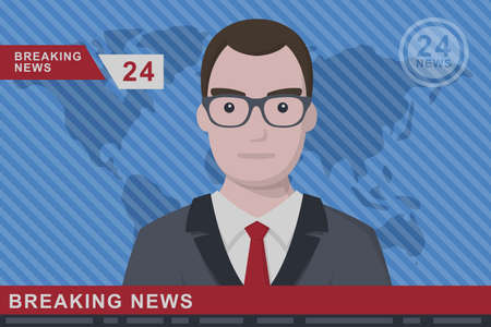 anchorman: Anchorman on tv broadcast news. Anchorman on a globe background. Anchorman flat vector illustration. Anchorman with the release of breaking news.
