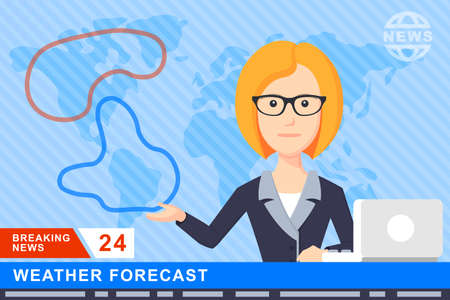 newsreader: Anchorman on tv broadcast news. Anchorman on a globe background. Anchorman flat vector illustration. Anchorman with the weather report. Illustration