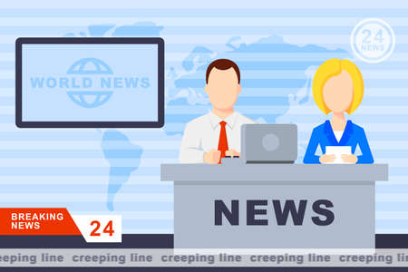 newsreader: Anchorman on tv broadcast news. Anchorman on a globe background. Anchorman flat vector illustration. Anchorman with the release of breaking news.