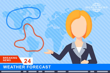 anchorman: Anchorman on tv broadcast news. Anchorman on a globe background. Anchorman flat vector illustration. Anchorman with the weather report. Illustration