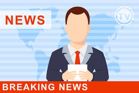Anchorman op tv uitzending nieuws. Anchorman op een wereldbol achtergrond. Anchorman plat vector illustratie. Anchorman met de release van het laatste nieuws. Vector Illustratie