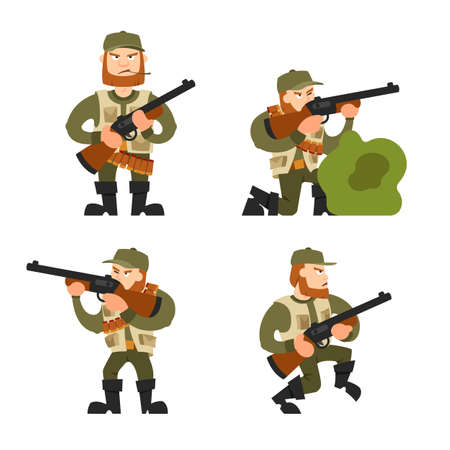 Hunters vector illustration. Hunters isolated on white background. Hunters vector icon illustration. Hunters isolated vector. Hunters silhouette. Hunters in cartoon style. Hunters with different gear. Stock Illustratie