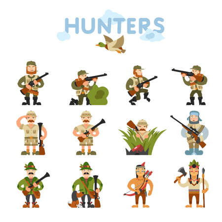 Hunters vector illustration. Hunters isolated on white background. Hunters vector icon illustration. Hunters isolated vector. Hunters silhouette. Hunters in cartoon style. Hunters with different gear. Illustration
