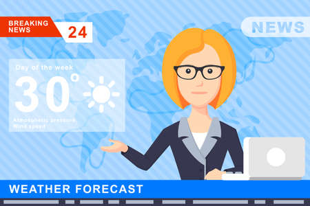 Anchorman on tv broadcast news. Anchorman on a globe background. Anchorman flat vector illustration. Anchorman with the weather report. Illustration
