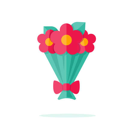 Happy Valentine day icon in flat minimalistic style Illustration