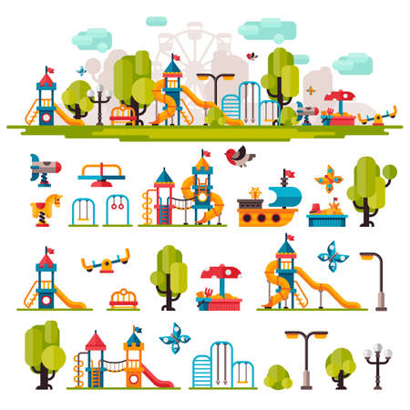 Childrens Playground drawn in a flat style. Childrens Playground on isolated background. Childrens Playground outdoors. Childrens Playground elements on white background. Kids Playground.