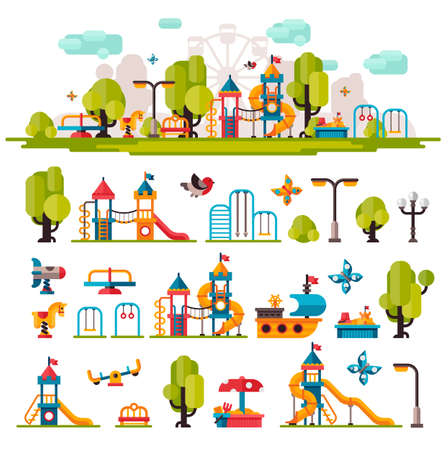 Kids Playground drawn in a flat style. Kids Playground on isolated background. Kids Playground outdoors. Kids Playground elements on white background. Childrens Playground.