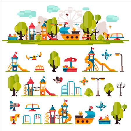 niño preescolar: Patio de los niños dibuja en un estilo plano. Zona de juegos para niños en el fondo aislado. Zona de juegos para niños al aire libre. Patio de los niños elementos sobre fondo blanco. Juegos para niños. Vectores