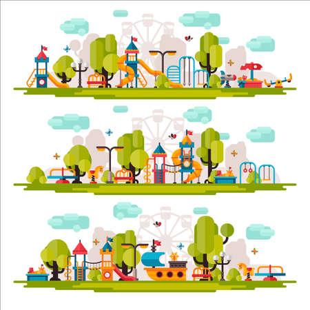 Kids Playground getekend in een vlakke stijl. Kids Playground op geïsoleerde achtergrond. Kids Playground buiten. Kids Playground elementen op een witte achtergrond. Childrens Playground.