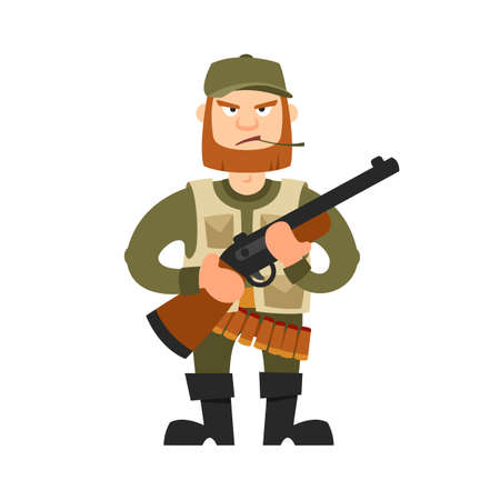 rifleman: Hunter vector illustration. Hunter isolated on white background. Hunter vector icon illustration. Hunter isolated vector. Hunter silhouette. Hunter in cartoon style. Hunter with a gun and ammunition.