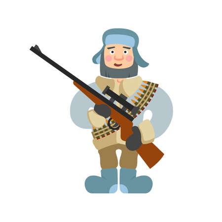 rifleman: Sniper vector illustration. Sniper isolated on white background. Sniper vector icon illustration. Sniper isolated vector. Sniper in cartoon style. Sniper with a rifle and ammunition. Hunter sniper.