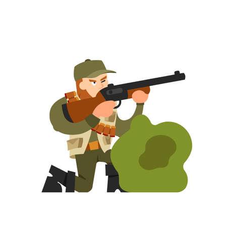 Hunter vector illustration. Hunter isolated on white background. Hunter vector icon illustration. Hunter isolated vector. Hunter in cartoon style. Hunter with a gun and ammunition in ambush Illustration