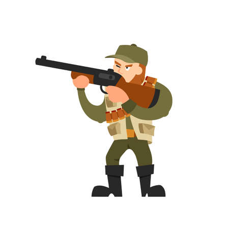 ammunition: Hunter vector illustration. Hunter isolated on white background. Hunter vector icon illustration. Hunter isolated vector. Hunter silhouette. Hunter in cartoon style. Hunter with a gun and ammunition.