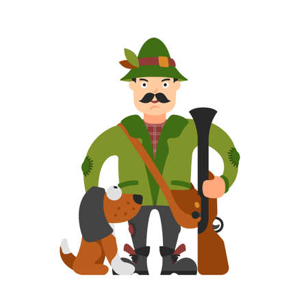 Hunter vector illustration. Hunter isolated on white background. Hunter vector icon illustration. Hunter isolated vector. Hunter in cartoon style. Hunter with a gun, a dog and ammunition.