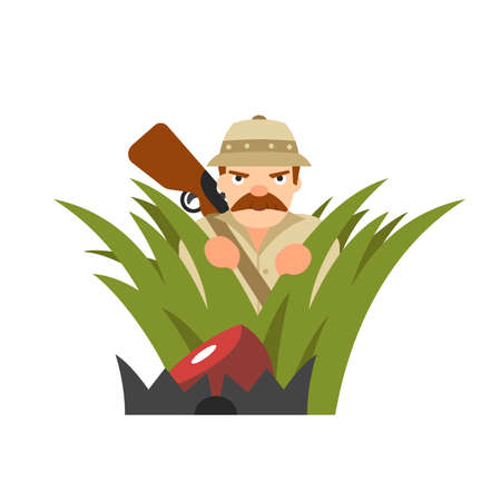 Hunter vector illustration. Hunter isolated on white background. Hunter vector icon illustration. Hunter isolated vector. Hunter silhouette. Hunter in cartoon style. Hunter in ambush. Illustration