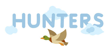 Flying duck. Vector duck. Duck on isolated background. Duck in cartoon style. Stylized icon of a duck.