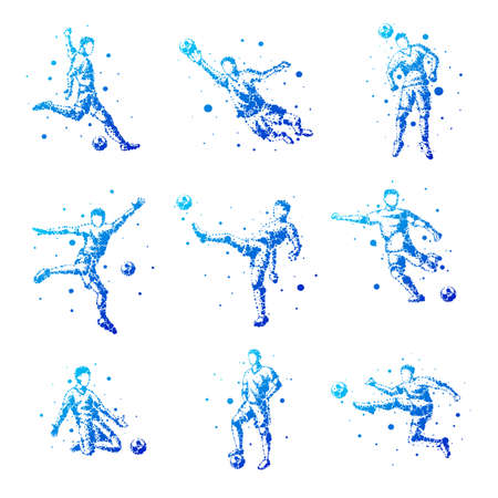 Set of abstract football players on isolated background. Goalkeeper, kick, jump. Stylized silhouettes for design. Blue circles of different sizes. Football players in motion, different options.