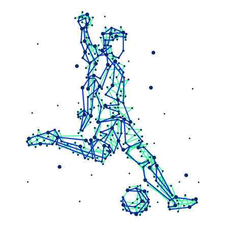 blue silhouettes: Illustration of abstract football player on isolated background. Run, kick, attack. Stylized blue silhouettes for design. Football players in motion.