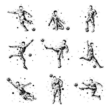 Set of abstract football players on isolated background. Goalkeeper, kick, jump. Stylized silhouettes for design. Black circles of different sizes. Football players in motion, different options.