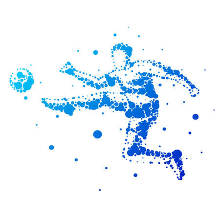 Illustration of abstract football player on isolated background. Goalkeeper, kick, jump. Stylized silhouettes for design. Blue circles of different sizes. Football player in motion, different options.