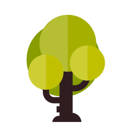 khaki: Illustration of a tree in flat style. Green leaf. Tree icon isolated on white background.