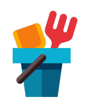 Bucket, rake and shovel for childrens sandbox icon in flat style on isolated background. Bucket, rake and shovel illustration