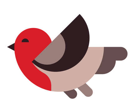 Illustration of a little bird with a red head. Flying bird in flat style. Flat geometric minimalism Stock Illustratie