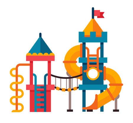 Illustration of a children slide with ladder in flat style. Children slide isolated on white background Illustration