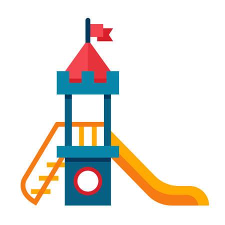 Illustratie van een glijbaan voor de kinderen met ladder in vlakke stijl. Glijbaan voor de kinderen op een witte achtergrond