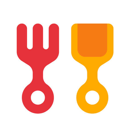 Rake and shovel for childrens sandbox icon in flat style on isolated background. Rake and shovel illustration Illustration