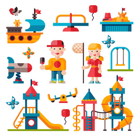 baby playing toy: Children playground. Teeter board, Swings, smile boy and girl. Sandpit and sandbox, rocket, children slide, toy ship. Playground flat illustration with isolated elements.