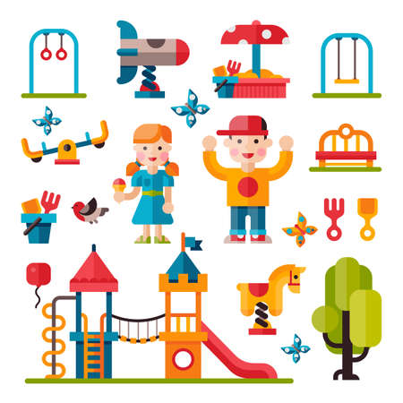baby playing toy: Children playground. Teeter board, Swings, smile boy and girl. Sandpit and sandbox, bench, children slide, toy rocket. Playground flat illustration with isolated elements.