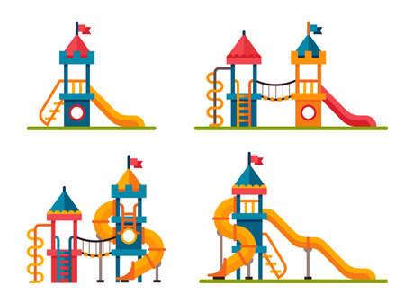 Set van verschillende kinderen schuiven met ladder in vlakke stijl. Glijbaan voor de kinderen op een witte achtergrond
