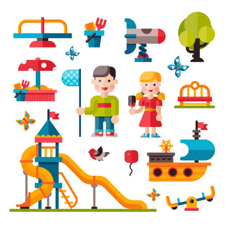 teeter: Children playground. Teeter board, Swings, smile boy and girl. Sandpit and sandbox, bench, children slide, toy ship. Playground flat illustration with isolated elements. Illustration