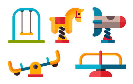 iron horse: Playground equipment in flat style. Swing on an isolated white background. Set of different swing and other Playground equipment.