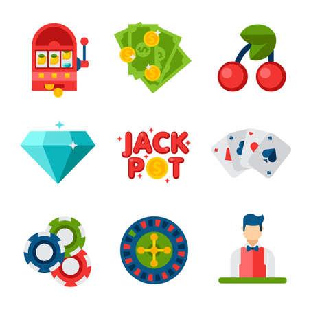 Illustration of flat icons on white background. Gambling, casino, money, roulette, poker. Set of design Elements of casino and gambling. Stock Illustratie