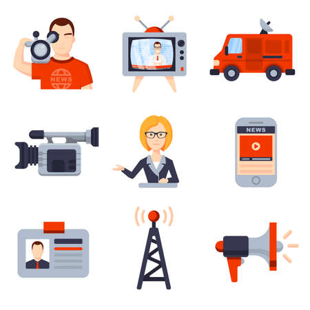telephone interview: Illustrations of Flat icon set and modern information technology and news release. Journalist, camera, photo, interview, microphone, radio, live broadcast