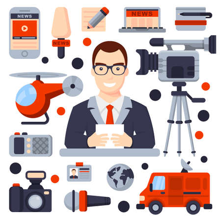 Illustrations of Flat icon set and modern information technology and news release. Journalist, camera, photo, interview, microphone, radio, live broadcast