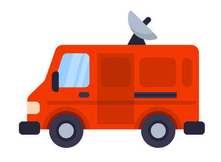 Illustration of Flat icon. Icon of TV van. A graphic element on the subject of news. Icon or sign isolated on white background. Illustration of tv van on flat style.