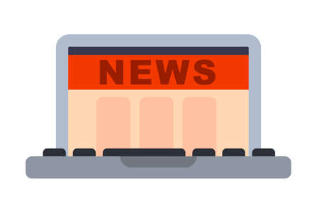 Illustration of Flat icon. Icon of laptop news site. A graphic element on the subject of news. Icon or sign isolated on white background. Illustration of laptop news site on flat style.