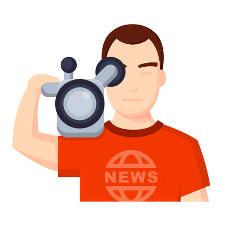 videographer: Illustration of Flat icon. Icon of videographer. A graphic element on the subject of news. Icon or sign isolated on white background. Illustration of videographer on flat style.