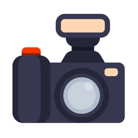 Illustration of Flat icon. Icon of photo camera. A graphic element on the subject of news. Icon or sign isolated on white background. Illustration of photo camera on flat style.