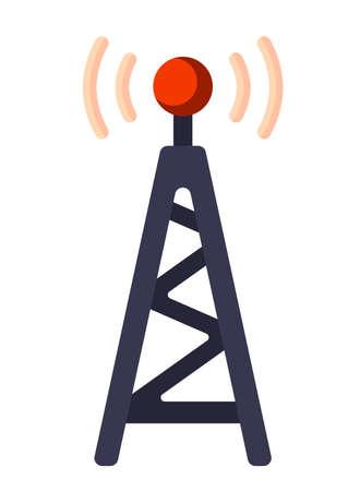 Ilustracja z płaskim ikona. Ikona odbiornika satelitarnego. Element graficzny na temat wiadomości. Ikona lub znak odizolowywający na białym tle. Ilustracja odbiornik satelitarny w stylu płaskiej.