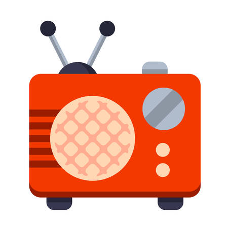 Illustration of Flat icon. Icon of radio receiver. A graphic element on the subject of news. Icon or sign isolated on white background. Illustration of radio receiver on flat style.