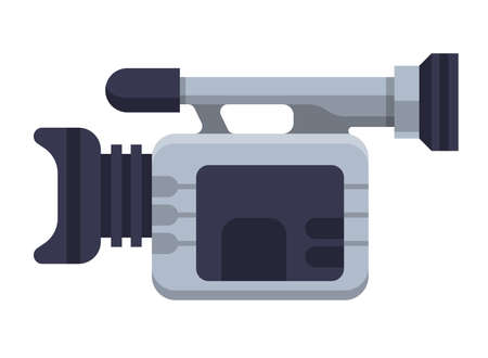 Illustration of Flat icon. Icon of video camera. A graphic element on the subject of news. Icon or sign isolated on white background. Illustration of video camera on flat style.
