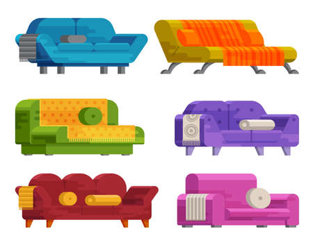 Illustration of sofa set in flat style. Furniture, bedspread, cushion. Sofas of different types isolated on a white background. Elements of interior design