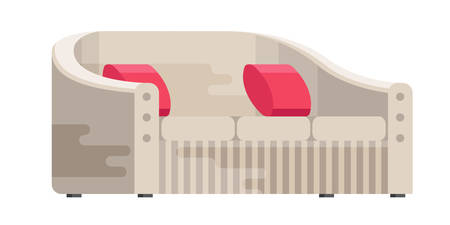 Illustration of sofa in flat style. Furniture, bedspread, cushion. Sofa isolated on a white background. Elements of interior design