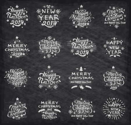 Set of Merry Christmas badges and Happy New Year stamp, sticker set with lettering typography. New year emblem in retro grunge style. Decorative Badges for Greetings Cards or Invitations isolated
