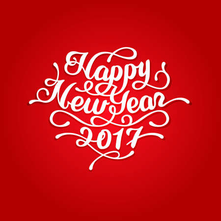 Happy New Year 2017 lettering text on red background. Invitation and greeting card and posters. Hand drawn New Year lettering, calligraphy. Vintage typography. Beautiful elegant design element.